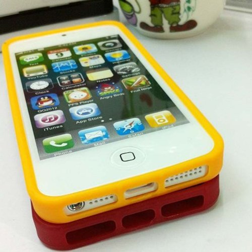 Ghope Cute Polka Dot Yellow TPU Back Shell Protective Case Cover for Apple iPhone 5