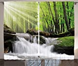 Ambesonne Waterfall Decor Curtains by, Tiny Waterfall Surrounded by Long Green Oak Trees with Sunshine Beams, Living Room Bedroom Window Drapes 2 Panel Set, 108W X 90L Inches, Green and White