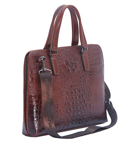 Jsix Business Mens Cow Leather Briefcase Bag Crocodile Em...