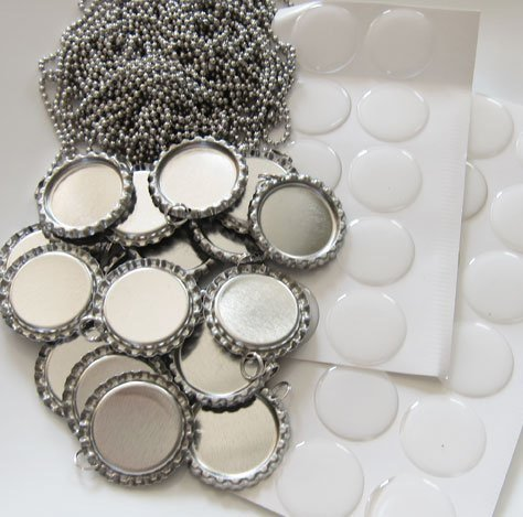 25 Silver Flat Bottle Caps With Rings,25 Circle Epoxy Stickers and 25 24