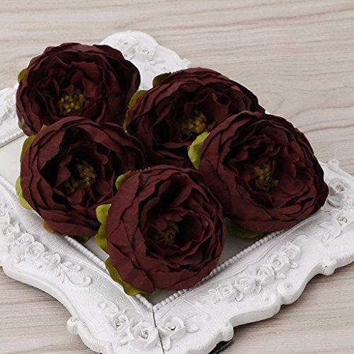 Susada 5Pcs Artificial Peony Flower Heads DIY Craft For Home Room Wedding Party Decor (Burgundy)