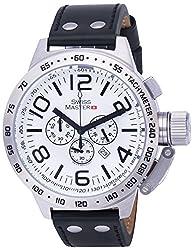 Swiss Master Mens Watch Black Leather White Dial Silver Case Quartz Chronograph Date SM200010G