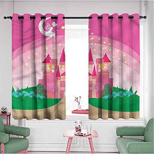 Xtilot Blackout Curtain Custom Curtain, Panels for Bedroom Girls Fairytale Castle Princess,Living Room & Kids Room W55 xL72 (Set of 2 Panels)