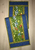 Quilted Table Runner, Wildflowers in Blue, Red, and Yellow 14x48 in. Reversible Dining Coffee