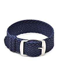 Ullchro Nylon Watch Strap Replacement Perlon Braided Woven Watch Band NATO Men Women - 14mm, 16mm, 18mm, 20mm, 22mm Watch Bracelet with Stainless Steel Silver Buckle (20mm, Navy Blue)