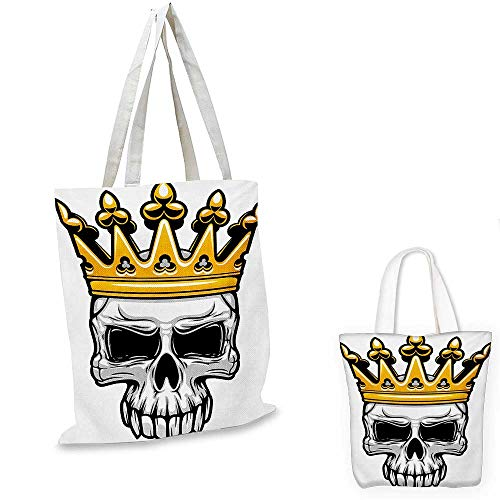 King canvas shoulder bag Hand Drawn Crowned Skull Cranium with Coronet Tiara Halloween Themed Image canvas lunch bag Golden and Pale Grey. 13