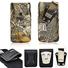 Camouflage Ballistic Nylon Turtleback Vertical Rugged Heavy Duty Case with Steel Clip and 3 inch Duty Belt Clip fits LG g4 with an Otterbox Defender or Commuter case on it.