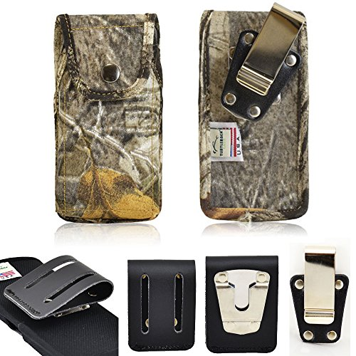 Rugged Vertical Camouflage Nylon Heavy Duty Case with Metal Clips for CAT s60 SmartPhone with a cover on it. Comes with 3 inch Belt Loop Clip and Standard Steel Clip.