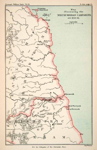1882 Lithograph Ancient War Map Northumberland England Bishopric Durham Alnwick - Original Lithograph (Lithograph 1882)