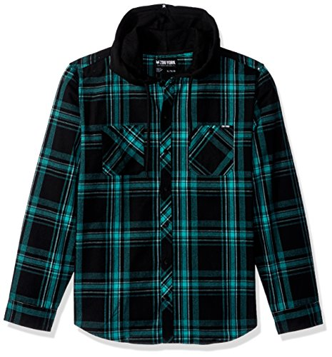 - Zoo York Men's Long Sleeve Hooded Woven Shirt, Bailey Pool Green, Medium