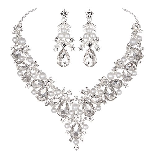 - Youfir Bridal Rhinestone Simulated Pearl Necklace Earring Jewelry Set for Brides Wedding Party Dress(Clear)