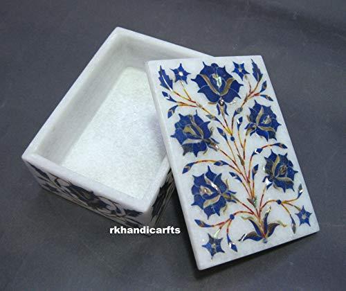 rkhandicrafts Rectangle Marble Jewelry Box Bangle Box Multi Use Box Inlay Work Lapis Lazuli Rose Flower Design Elegant Look to Your Dressing 5 x 3.5 Inches