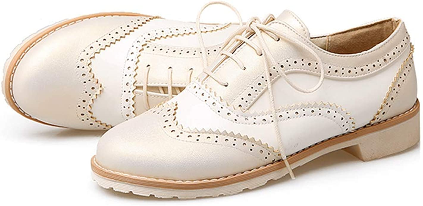 Women Wingtip Perforated Lace Up Flat