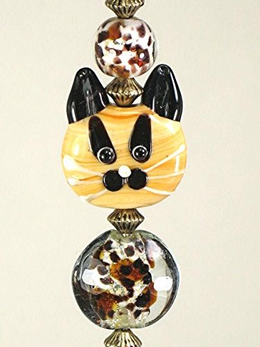 Loveable Tawny Amber Tabby Cat & Leopard Print Lampwork Glass Light or Ceiling Fan Pull