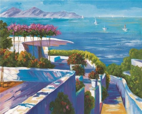 Twin Tower Costume England (Oil Painting 'View Of The Mediterranean Villa And The Sea' Printing On Perfect Effect Canvas , 8x10 Inch / 20x25 Cm ,the Best Study Artwork And Home Artwork And Gifts Is This Beautiful Art Decorative Canvas Prints)