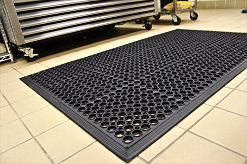 Black Anti-Fatigue Floor Mat Indoor Commercial Industrial Heavy Duty Rubber Floor Mats 36'' 60'' by COMLZD®