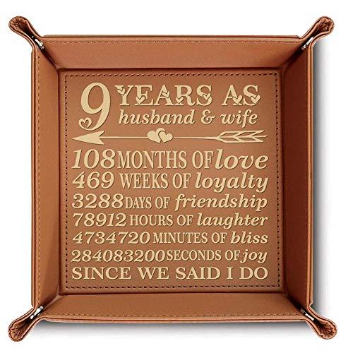 BELLA BUSTA-9 Years as Husband and Wife- Leather is The Modern 9th Gift for Husband, Wife-Engraved Leather Tray (Rawhide)