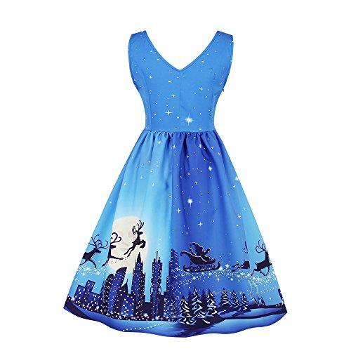 GREFER Women Vintage Party Dress, Santa Christmas Xmas Swing Skater Dress Plus Size