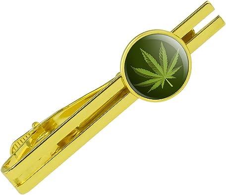 GRAPHICS /& MORE Marijuana Leaf Design Cannabis Pot Round Tie Bar Clip Clasp Tack Gold Color Plated