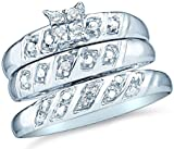 Sizes - L = 7.5, M = 9 - 10k White Gold Mens and Ladies Couple His & Hers Trio 3 Three Ring Bridal Matching Engagement Wedding Ring Band Set - Round Diamonds - Princess Shape Center Setting (.08 cttw) - Please use drop down menu to select your desired rin