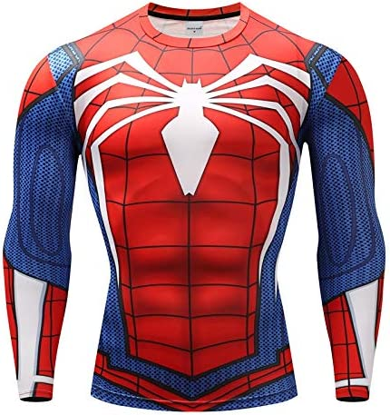 JHK Sports Spiderman Red Compression Top Gym Sports MMA Avengers Crossfit Marvel BJJ Cosplay Stag Party Cycling Running