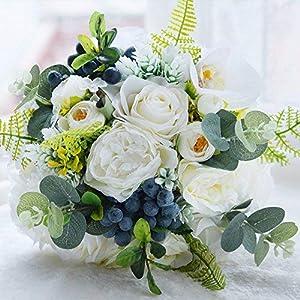 Abbie Home Bride Bouquets - Wedding Flower Bouquet Handmade Rose Bridal Artificial Silk Flower with Different Design (White) 27