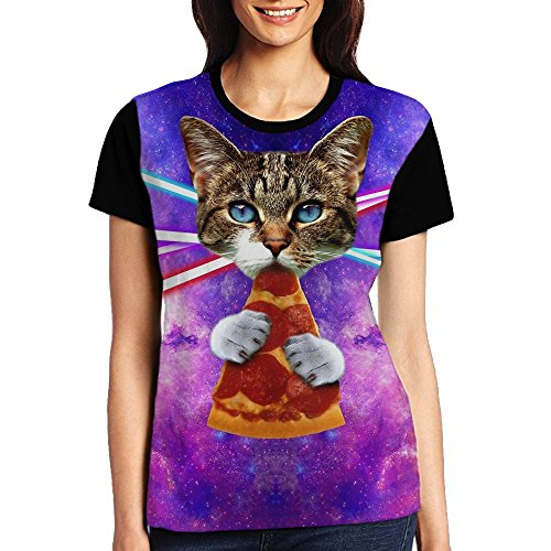 Price comparison product image BLACKY Greed Kitty T Shirts Short Sleeve Tee Printed Casual Tops for Women