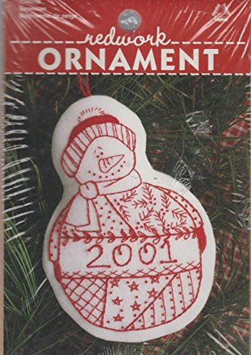 (Redwork Embroidery Snowman Ornament Kit)