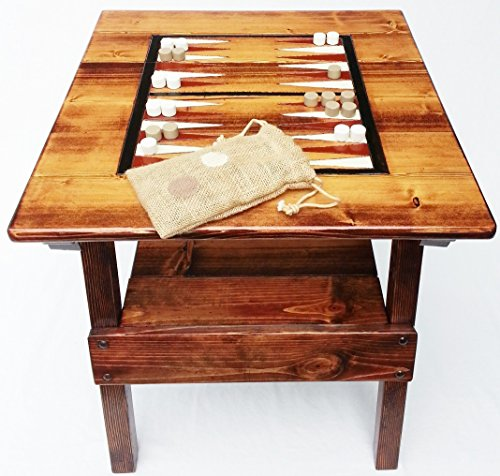 Backgammon Game Wood Table, Indoor /Outdoor, Patio or Garden Furniture, Engraved and Painted Folk Art Game Board, Reclaimed Wood