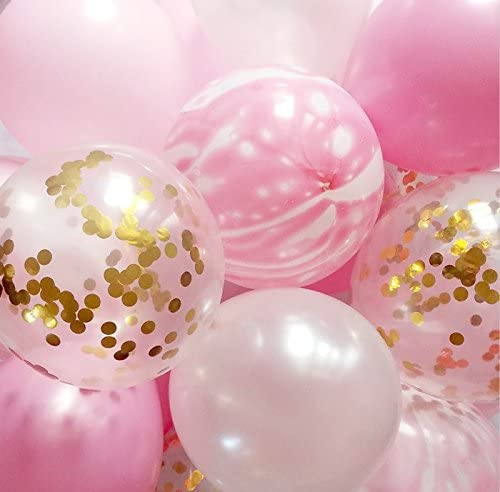 Pink and Gold Party Decoration Marble Confetti Balloon Thickened