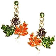 cocojewelry Maple Fall Leaves Dangle Post Stud Earrings Thanksgiving Halloween Jewelry