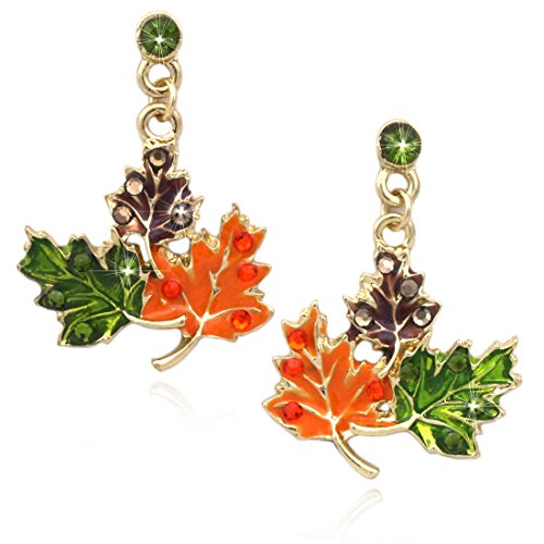 cocojewelry Maple Fall Leaves Dangle Post Stud Earrings Thanksgiving Halloween Jewelry