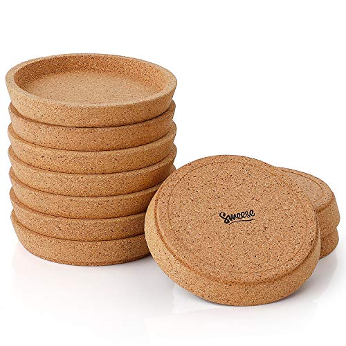 Sweese 3405 Cork Coasters - 4 Inch Perfect for Most Kind of Mugs - Protect Your Table from a Liquid Ring - Set of 10