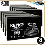 GS Portalac PE12V9F2 12V 7Ah Battery - 8 Pack Fresh & REAL Capacity 7.2 Amp AGM / SLA Sealed Lead Acid Rechargeable Replacement Genuine KEYKO F1 Terminal W/ F2 Adapter