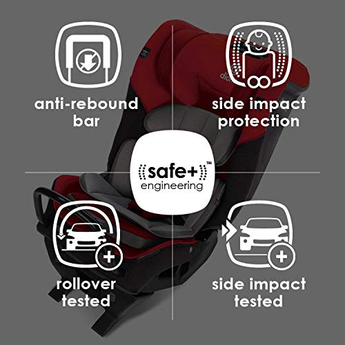 51uZTg%2BtkAL - Diono Radian 3QX 4-in-1 Rear & Forward Facing Convertible Car Seat | Safe+ Engineering 3 Stage Infant Protection, 10 Years 1 Car Seat, Ultimate Protection | Slim Design - Fits 3 Across, Red Cherry