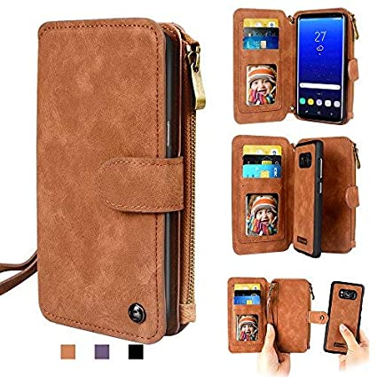 Cornmi iPhone 7 Wallet case, iPhone 8 Wallet Case Premium PU Leather Zipper 2-in-1 Wallet Folio Cellphone Purse Card Slots Stand with Wrist Shoulder Strap Detachable Cover for Apple iPhone 7 8 4.7' Brown