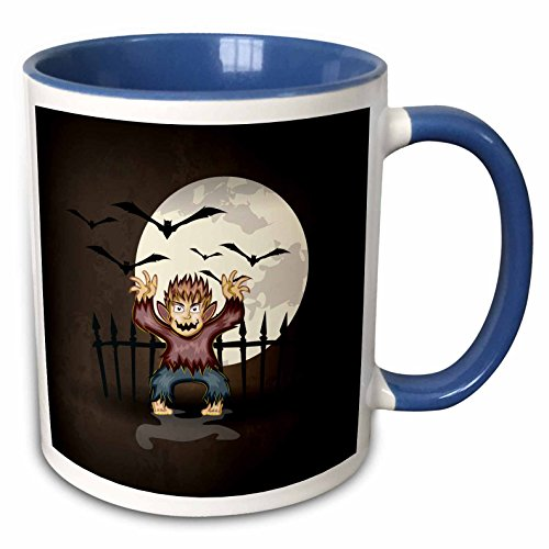 3dRose Dooni Designs Halloween Designs - Spooky Scary Werewolf Monster Spooking In Front Of Full Moon With Bats Halloween Illustration Design - 15oz Two-Tone Blue Mug (mug_129777_11)]()