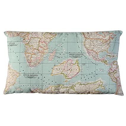 World Map In Blue Cushion By Wiki Pillow Back In Ecru Canvas