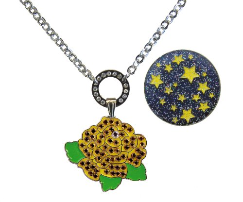 Magnetic Necklace with Swarovski Crystal Yellow Rose and Glitzy Starry Night Ball Markers (2013 Swarovski Ball)