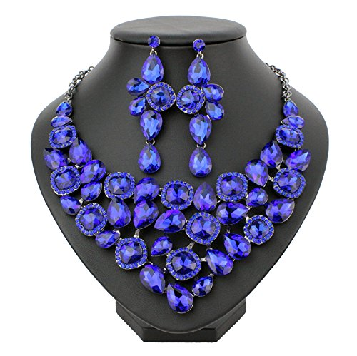 balt Blue Austrian Rhinestone Bib Necklace Earrings Set Prom Bridal N915b ()