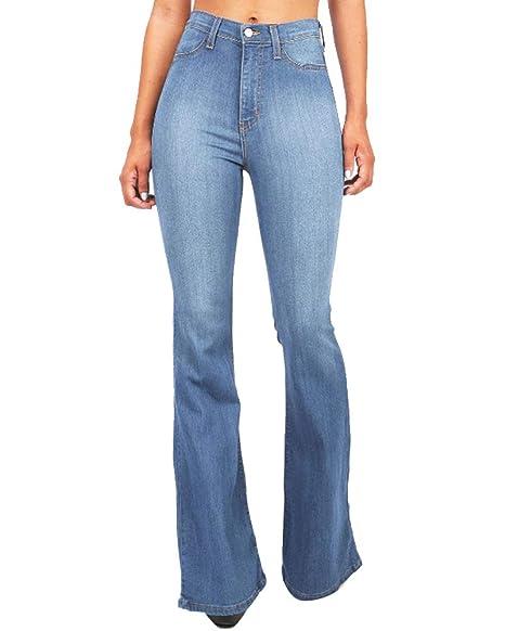 986a38c14d Guiran Donna Jeans A Zampa Vita Alta Push Up Elasticizzati Boyfriend Denim  Pantalone