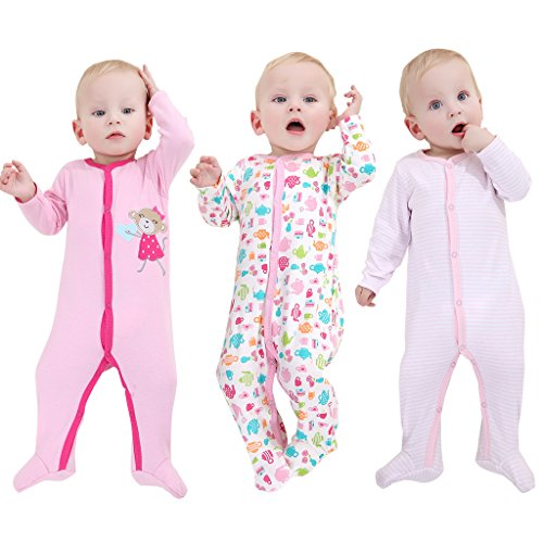 Mothernest Baby Girl's Footed Pajamas Sleeper Long Sleeve for Snap Sleep Play (10-12M)