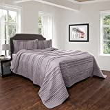 Oversized Quilts for Queen Beds Quilt and Sham Set- Hypoallergenic 3 Piece Oversized Full/Queen Quilt Bed Set with Striped Ruffle Design- Kadyn Series By Lavish Home (Silver)