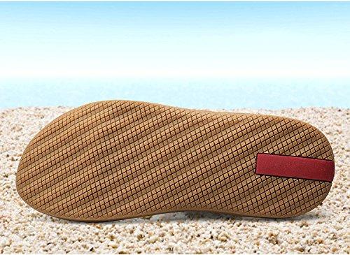 Estate Sandali Nuovi Sandali da spiaggia Fibra Tempo libero Indossabile Trend Grande Uomini Scarpe, nero, UK = 8, EU = 42