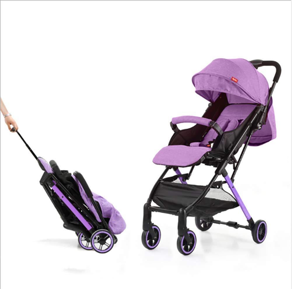 ベビーカートラベルシステム高ランドスケープデザイン軽量折りたたみショックプルーフは座ってうそをつくことができます  Purple B07Q8XKQR2