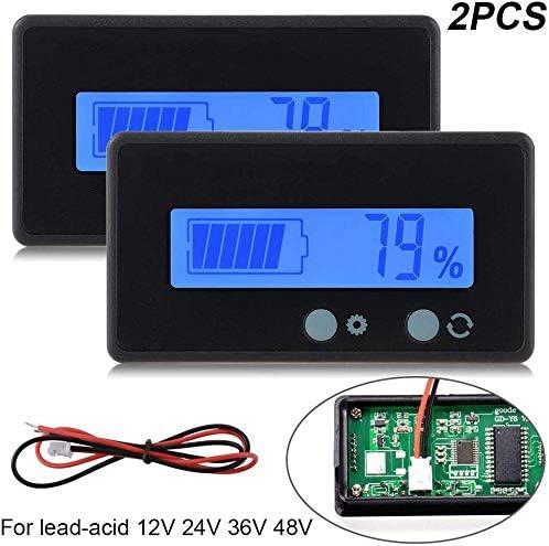2PCS Medidor de batería digital Capacidad de voltaje Medidor,12V / 24V / 36V / 48V LCD Medidor de capacidad de batería de plomo, 3.7V Medidor de litio Monitor de indicador de batería para vehículo