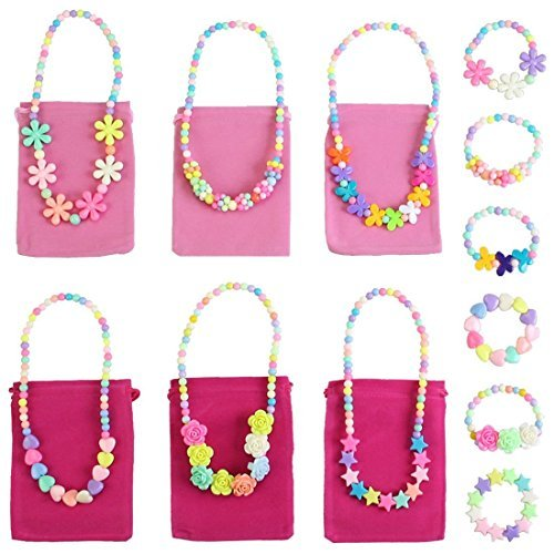 kilofly Princess Party Favor Jewelry Value Pack, Necklace & Bracelet, 6 Sets