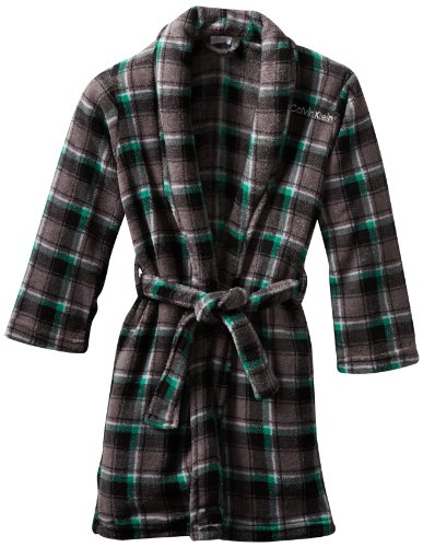 Calvin Klein Little Boys' Plaid Bathrobe, Grey, X-Small 5/6 (Boys Calvin Klein Robe)