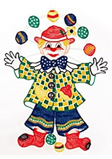 Plauener Spitze Hubsches Fensterbild 15x26 Cm Saugnapf Clown