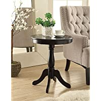 ComfortScape Pedestal Side Table on Wooden Turned Pedestal with 4 Legs, Black